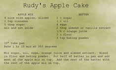 George R. Nahodil's wonderful recipe for apple cake.