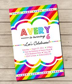 rainbow party invite