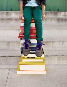 Katarina shines with Jewel Box Skinny Jeans and Uniform Oxfords in Back to School brights. Fall 2012.