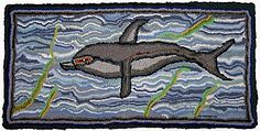 Dolphin with Weeds: Lewis Creed rag rug