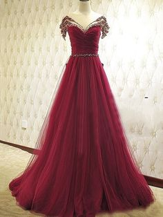 A-Line Bowknot Beaded Floor-Length Evening Dress