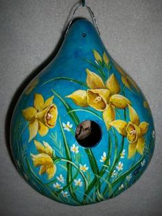 Gourd Birdhouse Daffodils and Daisies  For Mother Hand Painted Birdhouse Mothers Day