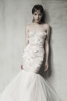 SUNNA - French ivory lace and embroidery gown, decorated with mounted crystals.