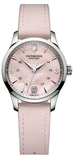 $495, Pink Leather Watch: Swiss Army Victorinox Alliance Round Leather Strap Watch 30mm. Sold by Nordstrom. Click for more info: https://lookastic.com/women/shop_items/92471/redirect
