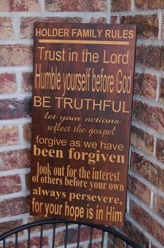 Custom Family Rules Wood Sign - Subway Style Art - Christian Values - wedding, mother's day, anniversary gift, housewarming