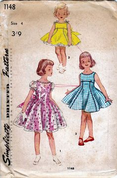 Vintage sewing pattern Simplicity 1148 Girls Party Dress Size 4 Breast 23 UNCUT FF -