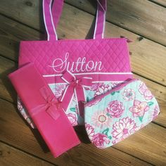Floral 3 Piece Quilted Diaper bag set