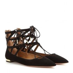 Aquazzura Belgravia Flat Suede Ballerinas (735 SGD) ❤ liked on Polyvore featuring shoes, flats, black, ballet flats, suede shoes, suede ballet flats, ballet shoes and ballerina shoes