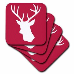 3dRose Red deer stag head silhouette in white - reindeer - rustic country Christmas themed gifts for winter, Ceramic Tile Coasters, set of 4