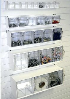 Slatwall Tilt Bins | Pegboard Tilt Storage | Tip out storage Bins