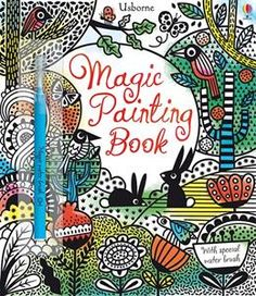 Magic Painting Book: Simply dip the magic water brush into water, brush it over the black and white patterns and you'll be amazed at the colors that magically appear.