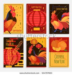 Azlina abdul chinese new year cards rohan s creation pinterest chinese new year greeting cards cards and banners set with rooster chinese lantern and mandarin new year 2017 concept cards flat style chinese rooster m4hsunfo