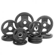 Xmark Premium Quality Rubber Coated Tri-grip Olympic Plate Weights - 165 Lb. Set