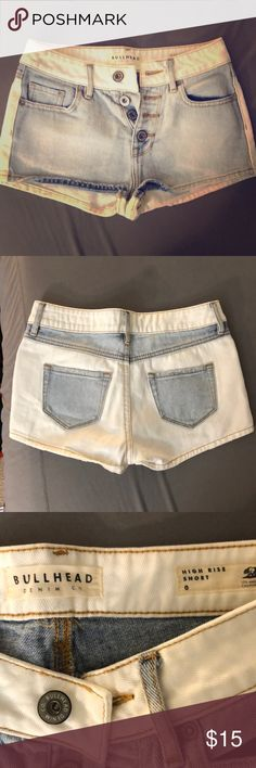 Bullhead High Rise Denim Short Light blue and white denim shorts from Pacsun. Size 0. Only worn once. Great condition, no wear or stains! High rise! Super cute. Bullhead Shorts Jean Shorts