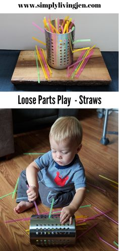 Today we are exploring straws as a loose parts material. Paired with an IKEA utensil holder this ended up being an amazing hand eye coordination activity! toddler activity Loose Parts Material: Straws Young Toddler Activities, Baby Room Activities, Straw Activities, Childcare Activities, Infant Activities, Activities For Kids, Indoor Activities, Toddler Rooms, Toddler Play