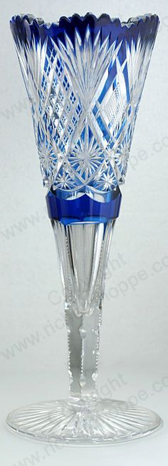 ANTIQUE c.1908 VAL ST. LAMBERT FOOTED BLUE TO CLEAR CRYSTAL VASE. Price: £575.00. For more information about this item click here: http://www.richardhoppe.co.uk/item.php?id=2755 or email us here: rhshopinformation@gmail.com