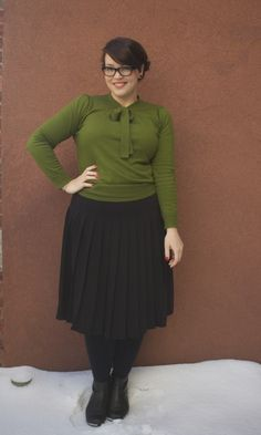 Pleated skirt green blouse