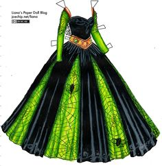 Black Velvet and Chartreuse Gown with Spider web Lace