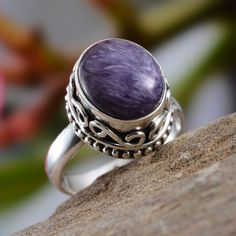 Artisan Crafted Siberian Charoite Ring in Sterling Silver (Nickel Free)