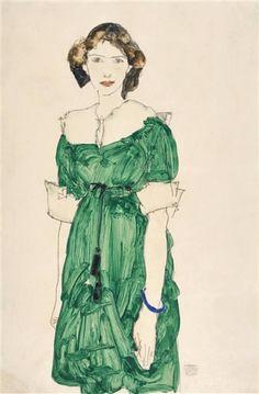 Egon Schiele - Standing girl with green dress, 1913. #arte