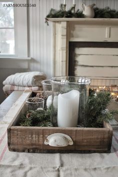 Natural Farmhouse Decorating Ideas - country Christmas decorations, using natura. - Natural Farmhouse Decorating Ideas – country Christmas decorations, using natural, found material - Christmas Table Centerpieces, Country Christmas Decorations, Farmhouse Christmas Decor, Rustic Christmas, Xmas Decorations, Vintage Christmas, Farmhouse Decor, Farmhouse Design, Country Farmhouse