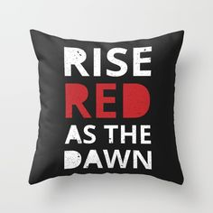 Rise, Red as the Dawn Throw Pillow