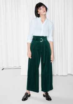 Other Stories image 2 of Wide Corduroy Trousers in Green