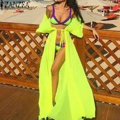 2017 Boho Women Summer Vestidos Chiffon Cardigan Long Swimwear With Belt Bathing Suit Sexy Beach Bikini Swimwear Cover Up Tops