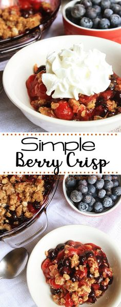 A simple Berry Crisp recipe is the perfect dessert in a pinch! Served hot or chilled, with fresh blueberries, cherry pie filling, and sweet oat topping! Berry Crisp Recipe, Recipe For Mom, Recipe Box, Brown Sugar Oatmeal, Blueberry Oat, Fruit Cobbler, Food Shows, Cupcake Cakes, Cupcakes