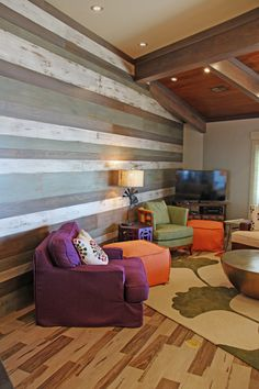 Custom paneled wall. White oak shiplap boards custom painted in a 5-step process by a local artist; designed by Julie O'Brien Design. General Contracting by Martin Bros. Contracting, Inc. #rustic #vintage