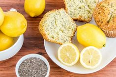 Low Carb Lemon Chia Seed Muffins - Slender Kitchen. Works for Clean Eating, Gluten Free, Low Carb, Paleo, Vegetarian and Weight Watchers® diets. 154 Calories.