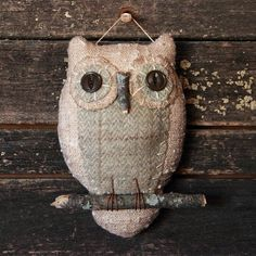 Primitive Owl Folk Art Ornie by rockriverstitches on Etsy, $20.00