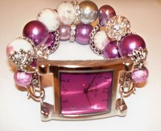 Purple Beaded Watch Band and Face  Chunky  by BeadsnTime on Etsy, $30.00