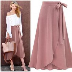 faldas mujer moda 2019 skirts womens jupe femme plus size irregular open fork skirt fashion casual summer women skirt 1191 50 Maxi Outfits, Casual Skirt Outfits, Boho Outfits, Casual Dresses, Maxi Dresses, Fashion Dresses, Crochet Skirt Outfit, Knit Dress, Dress Skirt