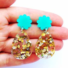 Poppy Drop Earrings Mint and Lush Glitter by EachToOwn on Etsy