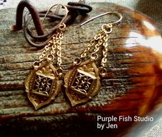 Ornate Golden Artisan Drop Earrings by UrsyllaBs on Etsy, $28.00