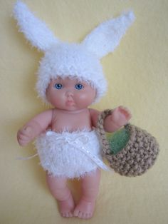 Hand knit doll clothes Fluffy Easter Bunny Costume for by WeGirls, $9.00
