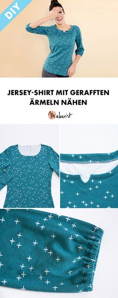 Jersey-Shirt mit gerafften Ärmeln nähen - gratis Schnittmuster und Nähanleitung via Makerist.de