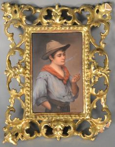 """Circle of EUGENE VON BLAAS  Piccolo  painted porcelain plaque of boy smoking  in ornate gilt frame  Marked on back """"Piccolo nach E. V. Blaas""""  (frame as is)  plaque: 6"""" x 4 1/4"""""""
