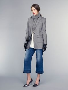 Banana Republic F/W '15 // cropped flared pants + oversized blazer + heeled metallic loafers