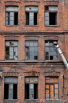Photo about Many broken windows on old abandoned warehouse. Image of industrial, security, windows - 20970566 Warehouse Home, Abandoned Warehouse, Factory Architecture, Brick Architecture, Building Structure, Brick Building, Modern Victorian Homes, Brick Paper, Industrial Windows