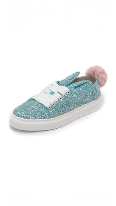 Minna Parikka Sequin Sneakers with Fur Tail | SHOPBOP