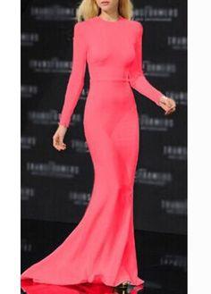 Elegant Round Neck Long Sleeve Dress for Lady | modlily.com