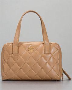 Chanel Beige Clair Lambskin Leather Surpique Satchel Bag