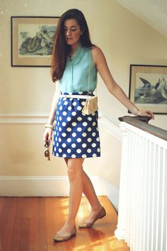Top and belt by J.Crew, skirt by Laurla, bag by Pink Tulips, shoes by Kate Spade. (May 15, 2012)