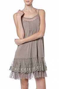 Lace trim slip dress with pin-tuck detail at neckline and adjustable staps. Great item to wear under over-sized sweaters for Fall. Pair it with our Lace Trim Ribbon Knit sweater for a great holiday/party look. Dress Outfits, Casual Dresses, Slip Dresses, Chic Outfits, Fall Outfits, Fashion Dresses, Plus Size Lace Dress, Lace Knitting, Knit Lace