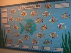 Children were all given a set different of cut out scales of the same colour - they had to share their scales so that everyone could make a rainbow fish