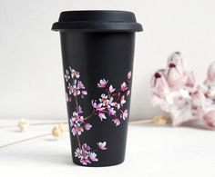 Hand Painted Black Ceramic Eco-Friendly Travel Mug - Cherry Blossoms - Limited Edition - made to order