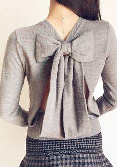 Cutout Back Knit Blouse - Adorable Ribbon Design At Back
