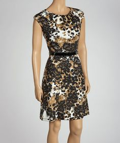 Take a look at this Camel Floral Belted Dress by Emma & Michele on #zulily today!